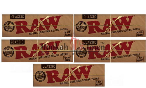 Raw Classic 1 1/4 size 50 Leaves per pack (10 Pack) 500 papers total