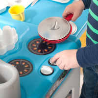 Simplay3 Play Around Kitchen and Activity Center for children ages 2-6 includes pretend stove, oven, pots, pans, utensils, for realistic cooking fun.