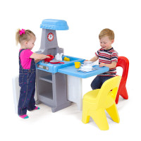 Simplay3 Play Around Kitchen and Activity Center with Simplay3 Play Around Chairs (sold separately).