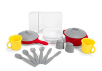 Simplay3 Play Around Kitchen and Activity Center includes 18 piece cooking and dining accessories set.