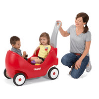 Simplay3 High Back Wagon for toddlers includes deluxe features like durable, deep tread rubber tires for quiet rides, and front caster wheels for easy turns around tight corners. Kids love this toddler wagon!