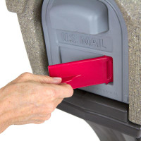 Simplay3 Classic Home Mailbox with front and rear access magnetic doors includes a unique cherry flag mail pick-up indicator that swivels out from the front of the mailbox.