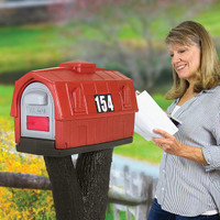 Simplay3 Rustic Barn Mailbox blends in perfectly to a rural setting.