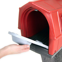 Simplay3 Rustic Barn Mailbox with easy grip front and rear mailbox doors holds standard mail, catalogs, and small packages, and meets USPS standards for traditional and contemporary mailbox designs.
