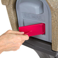 Simplay3 StyleMaster Rustic Homestyle Mailbox with front and rear access magnetic doors includes a unique cherry flag mail pick-up indicator that swivels out from the front of the mailbox.