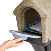 Simplay3 Rustic Home Mailbox with easy grip front and rear mailbox doors holds standard mail, catalogs, and small packages, and meets USPS standards for traditional and contemporary mailbox designs.