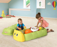 Simplay3 Caterpillar Sandbox as a playroom toy box for children holding books, puzzles, toys, and treasures up to a capacity of 1.75 cubic feet.