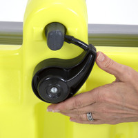 Trail Master 2-Seat Wagon release latch to remove or re-position handle for easy storage