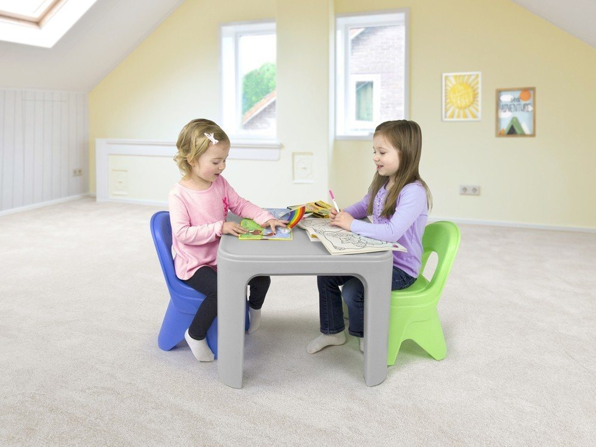 ... Simplay3 Play Around Table And Chair Set For Toddler Activities Like  Puzzle Solving And Arts And