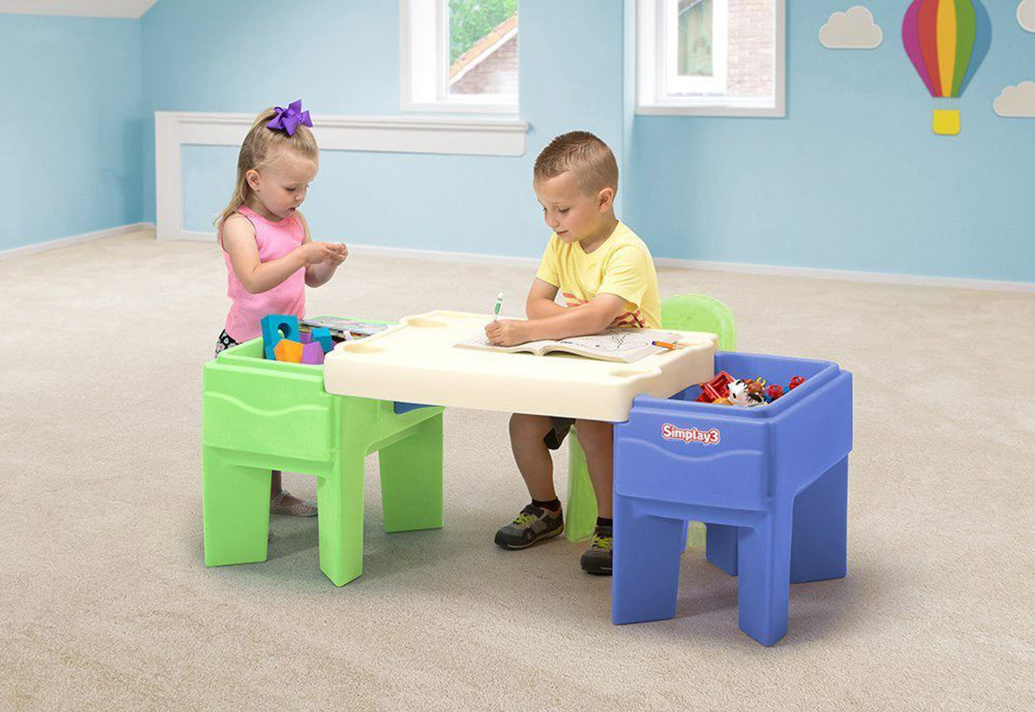 ... Simplay3 In U0026 Out Activity Table Configured As A Childrenu0027s Arts And  Crafts Table With Colorful ...