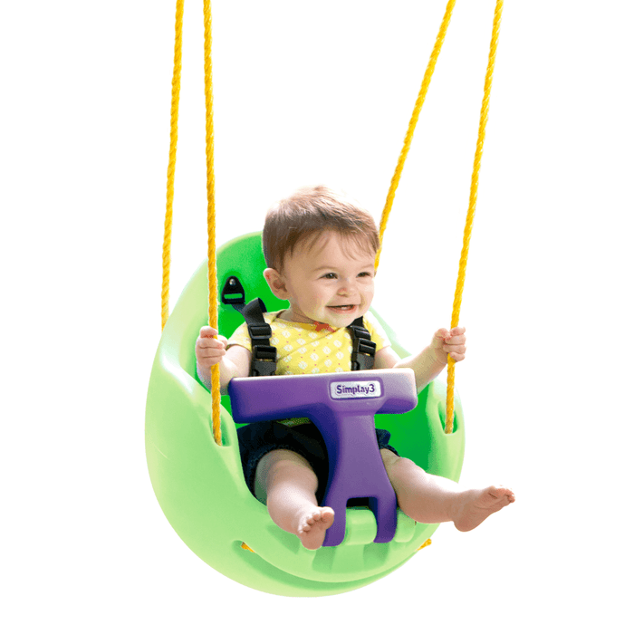 Simplay3 Snuggle Swing Egg-shaped design features a high back & curved sides for extra support & swaddle