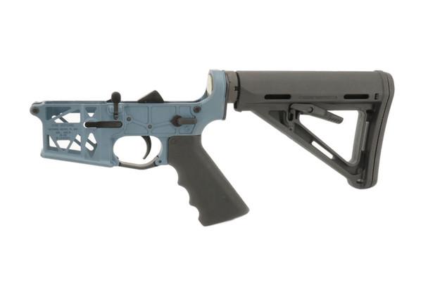Mil Spec Grid Defense Complete  AR15 Skeleton Lower in Blue Titanium.