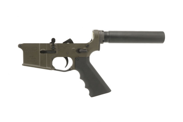 AR-15 Mil-Spec Grid Defense Lower Receiver in Olive Drab Green