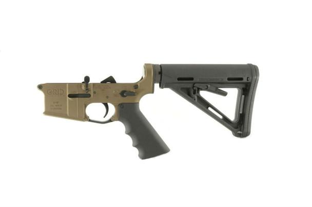 Grid Defense Burnt Bronze Complete AR15 Rifle Lower Receiver.