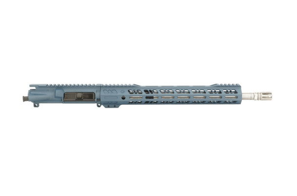"Mil Spec AR 15 16"" Stainless Steel 300 Blackout Upper in Blue Titanium by Grid Defense"
