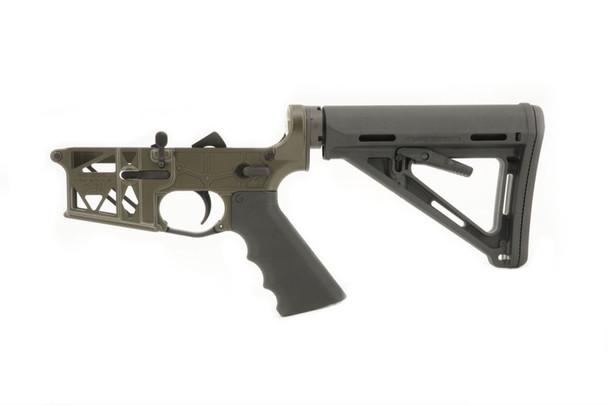 Grid Defense Milspec Skeleton Complete AR15 Rifle Lower Receiver in Olive Drab Green.