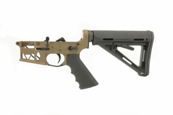 Grid Defense Mil-Spec Skeletonized AR-15 Burnt Bronze Cerakoted Lower Receiver.