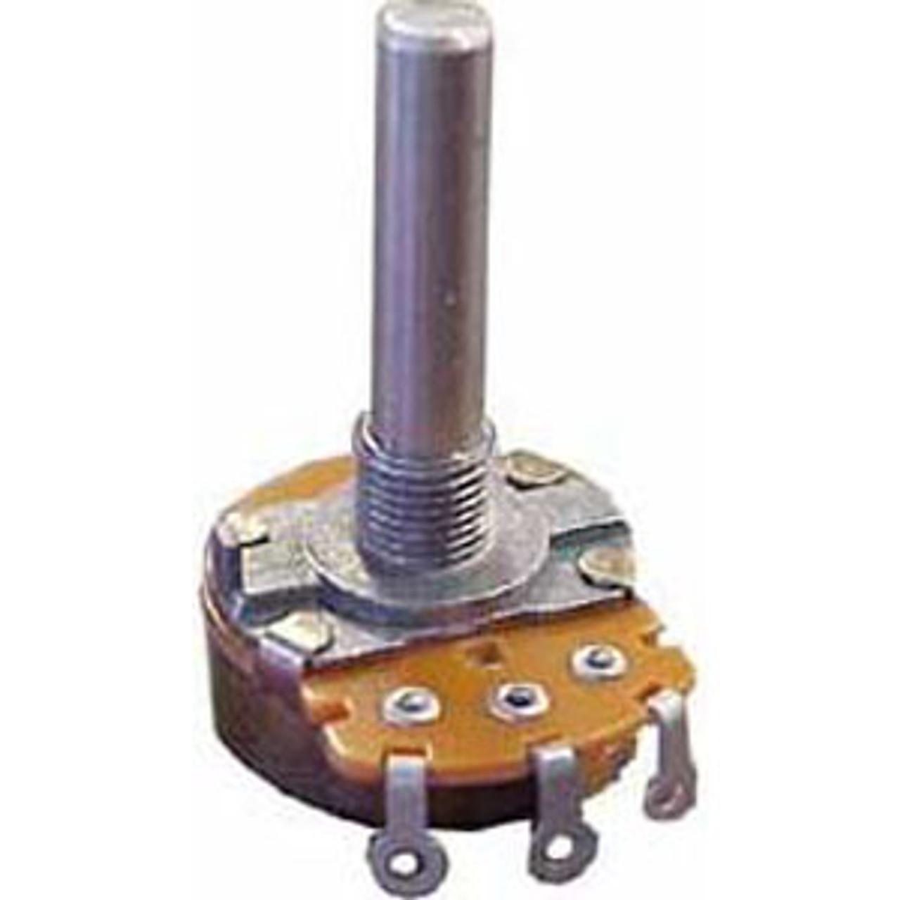 10K Standard Potentiometer (24 mm) Linear taper without switch Solder lug terminals  Max voltage: 500 VAC Audio 250 VAC Power rating: Linear 500mA, .5W Audio 250 mA, .25W Switch Rating 1.0A @ 125V AC/DC Bushing diameter 8 mm Shaft 30mm w/flat 12mm, 6mm OD