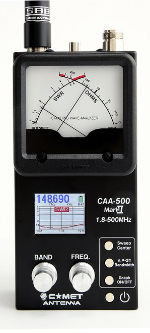 Comet NEW CAA-500MarkII 1.8 – 500MHz (including 222MHz band) Antenna Analyzer  -  SPECIAL