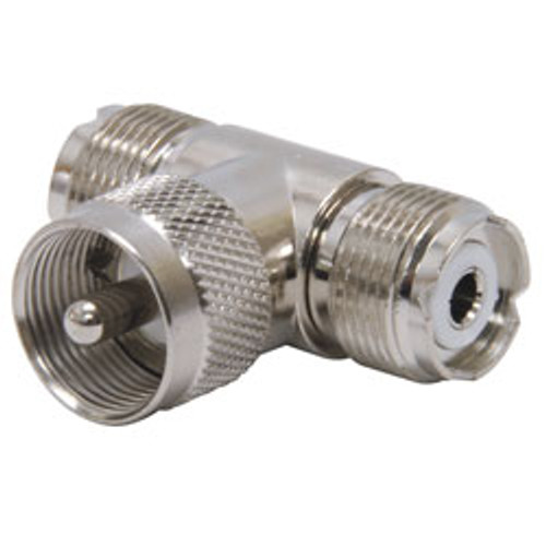 """RoadPro - """"T"""" Coax Connector, PL-259 to (2) SO-239"""