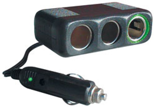 "RoadPro - 12-Volt 3 Outlet Fused Cigarette Lighter Adapter with 30"" Cord"