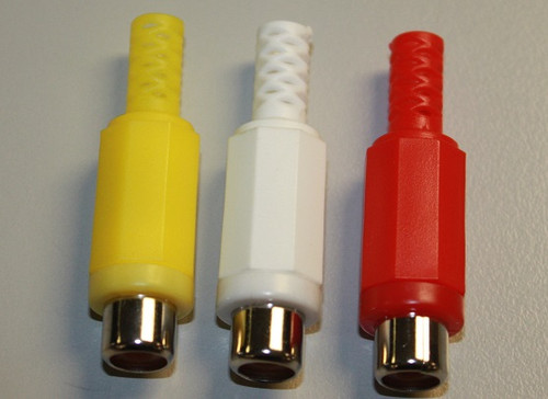 RCA Phono Jack  1 Red 1 Yellow and 1 White Solder terminals, molded plastic shell with strain relief