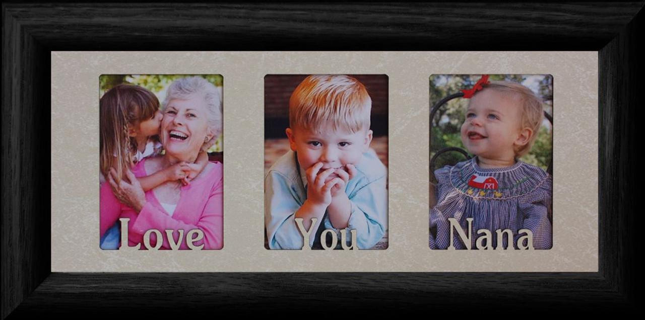 LOVE YOU NANA ~ Triple 2\'\'x3\'\' Wallet BLACK Solid Oak Photo Frame ...