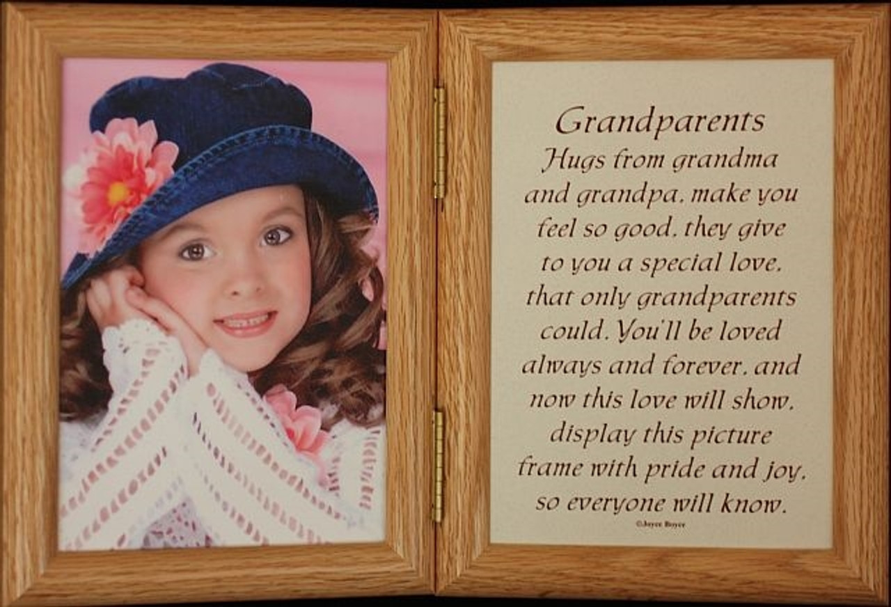 5x7 Hinged GRANDPARENTS Poem Oak Picture Photo Frame ~ Gift for ...