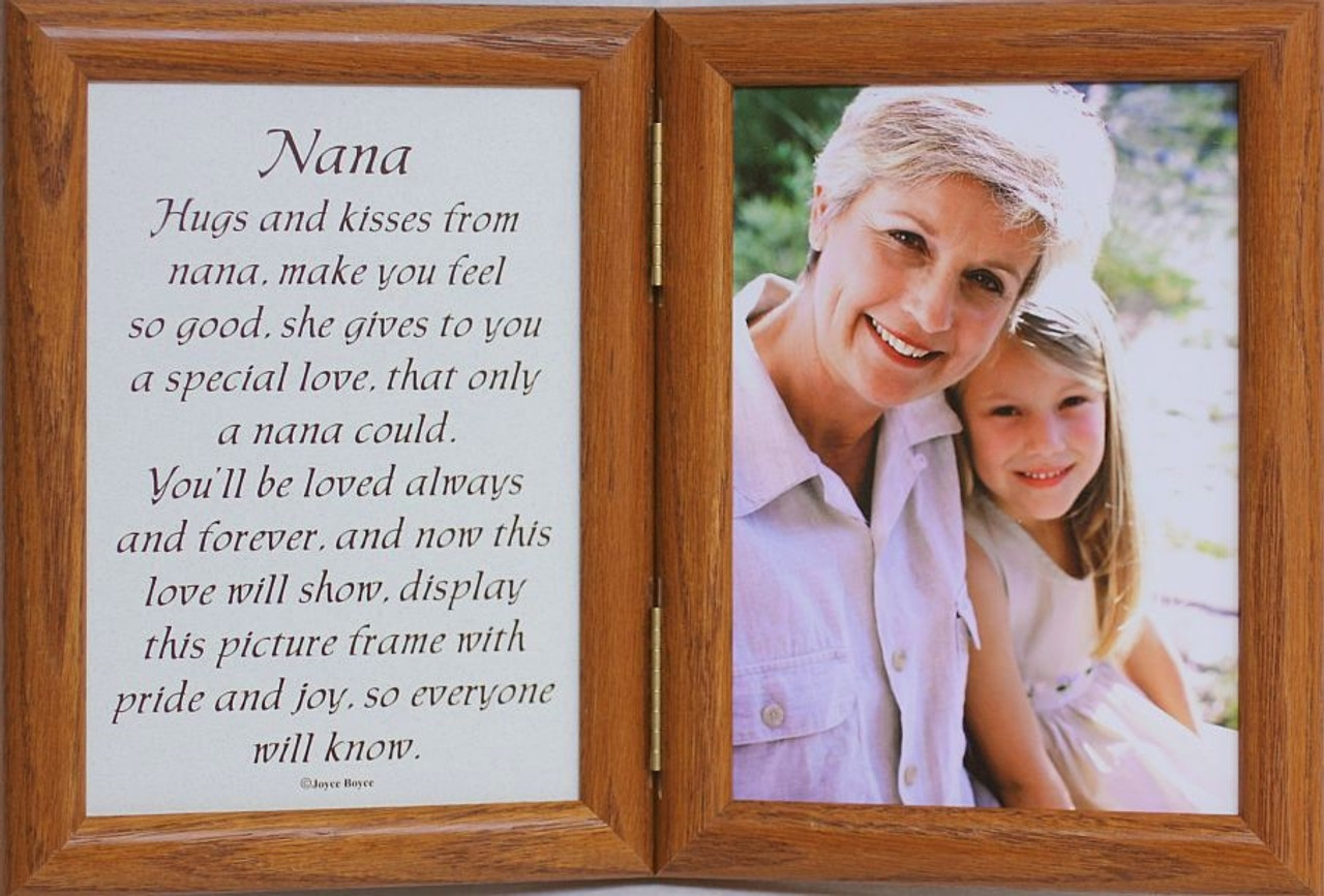 5x7 Hinged NANA Poem Oak Picture Photo Frame ~ Nana/Grandparent