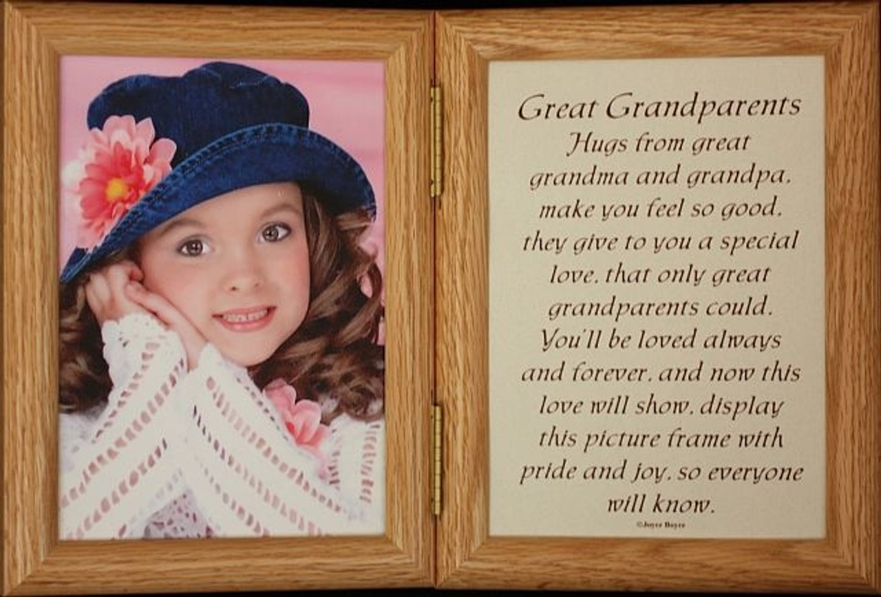 5x7 Hinged GREAT GRANDPARENTS Poem Oak Picture Photo Frame Great ...