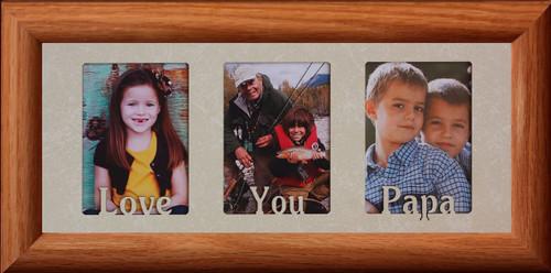 LOVE YOU PAPA ~ Triple 2\'\'x3\'\' Wallet LIGHT/MEDIUM Photo Frame ...