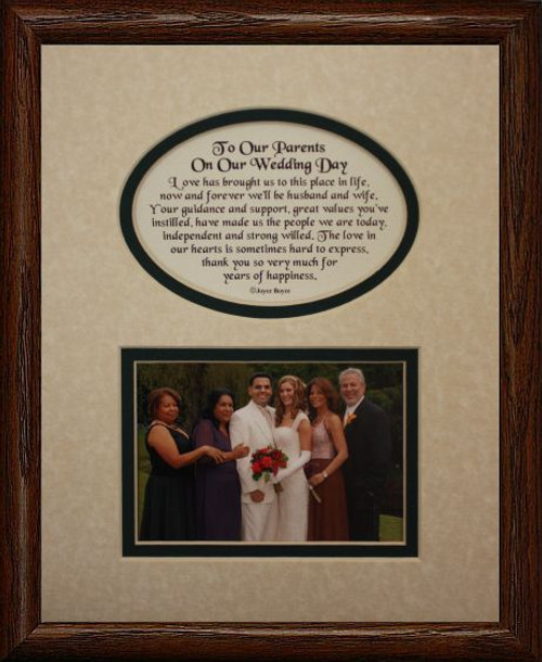 8x10 TO OUR PARENTS ON OUR WEDDING DAY Picture & Poetry Photo Gift ...