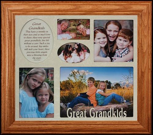 GRANDKIDS ~ Multi-Opening COLLAGE Frame ~ Cream Mat w/Black Frame ...