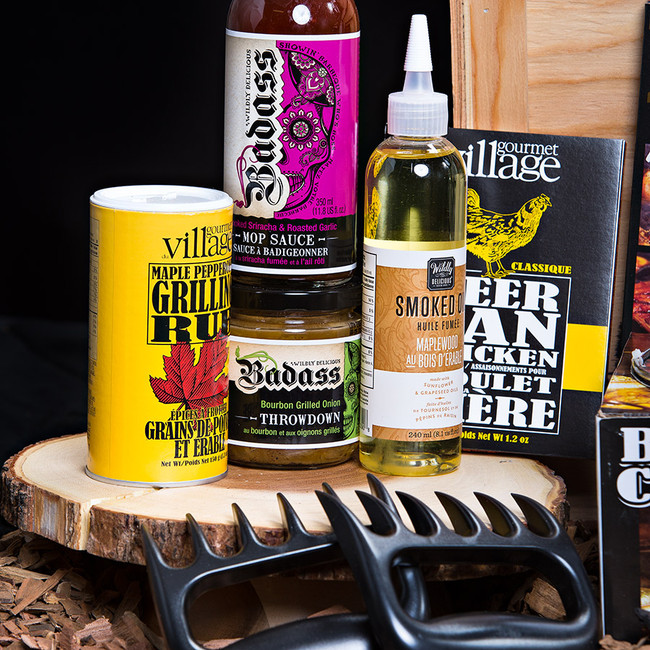 "An Ultimate gift for the PIT MASTER!  A grill masters dream with all the essentials to kick off BBQ Season. Gift Includes: •	Keepsake Canadian Made Manbox •	19 Crimes Shiraz Durif •	Ancho Chili and Coffee Meat Rub •	Maplewood Smoked Oil •	Smoked Sriracha and Garlic BBQ  Mop Sauce •	Newfoundland Screech BBQ Sauce •	Bourbon Grilled Onion Throw down •	Applewood Smoke Finishing Salt •	Maple Peppercorn Grilling Rub •	Beer Can Chicken Rub •	Spicy Chipotle Burger Seasoning •	Cedar Grill Plank & Spicy Texan Rub •	BBQ Rub Trio •	Beer BBQ Grilling Sauce •	Stuffed Burger Press •	Beer Can Chicken Roaster Kit"" •	Bear Paw Meat Shredding Claws"