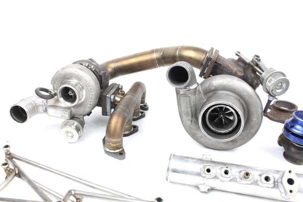 Used Custom Darkside Compound Turbo Kit for BKD / Round Port Common Rail 16v TDI Engines (From Seat Arosa) + Spares
