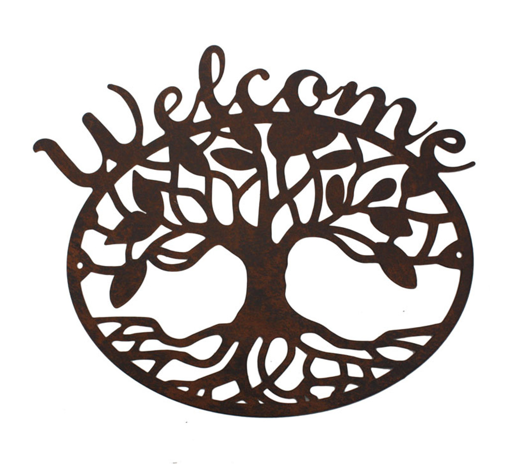 Welcome Tree Of Life Metal Wall Plaque 25cm