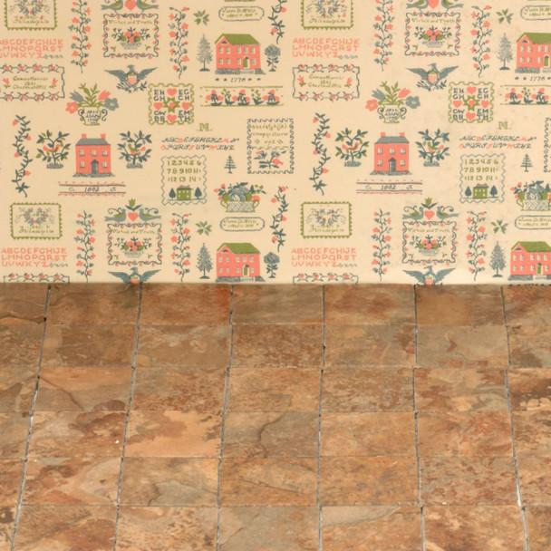 Miniature Scale Vinyl Floor Tiles Brown
