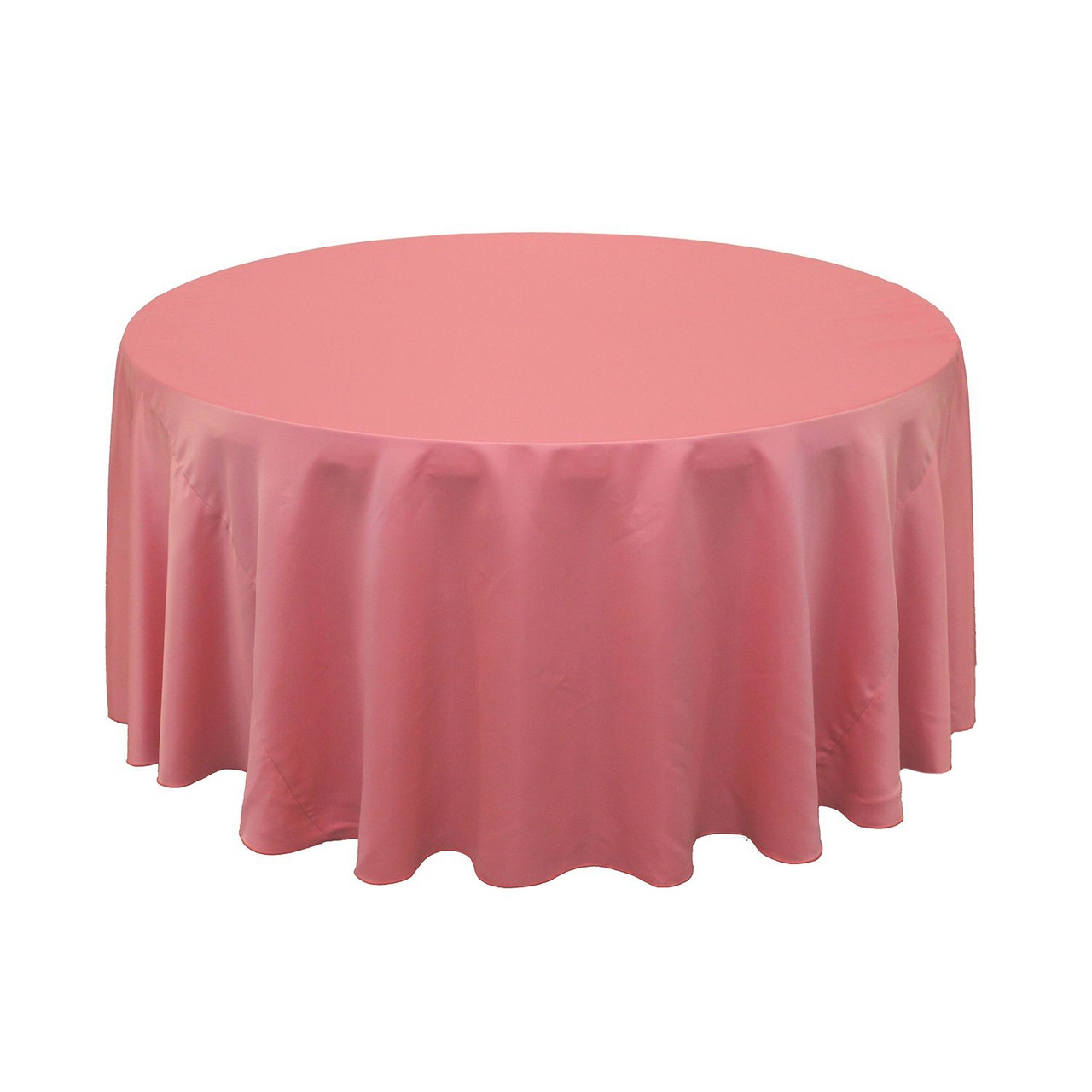 120 Inch L Amour Satin Round Tablecloths Coral Wedding