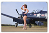 """CORSAIR  NAVY and PIN-UP""  METAL  SIGN"