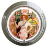 """""""GINA ELISE  SERVING  OUR  VETS""""  NEON AND CHROME CLOCK"""