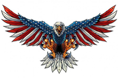 """""""Eagle With US Flag on Wings  Spread-- 29"""" by 18"""" Metal Sign"""