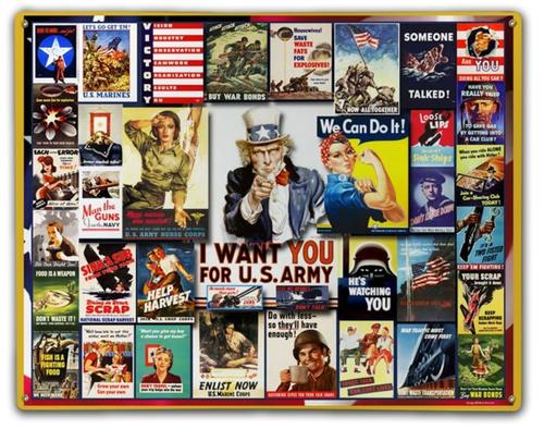 """World War II  Posters""  Metal  Sign"