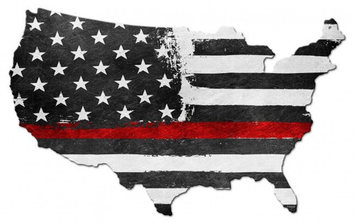 """""""USA  MAP  WITH  THIN  RED  LINE""""  METAL  WALL  ART"""