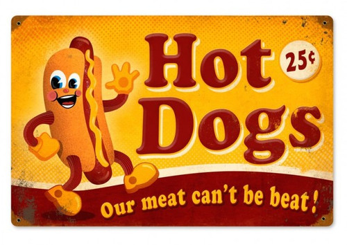 """""""HOT DOGS""""  REPRODUCTION  METAL  SIGN"""
