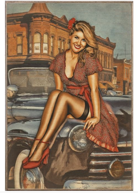 """Pin-Up  On  A  Car""  Metal  Sign"