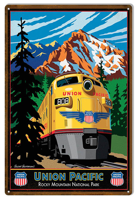 """UNION PACIFIC ROCKY MOUNTAIN RAILROAD""  METAL  SIGN"