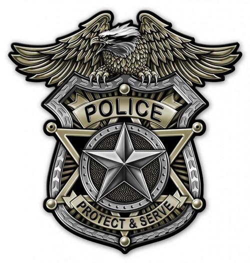 """POLICE  BADGE""  METAL  SIGN"