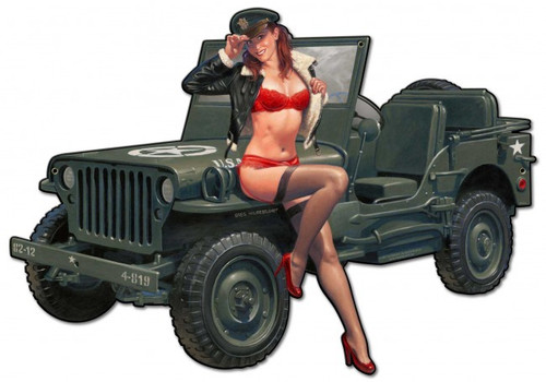 """""""Willys  Overland  Jeep & Pin-Up""""  Metal  Wall  Art"""