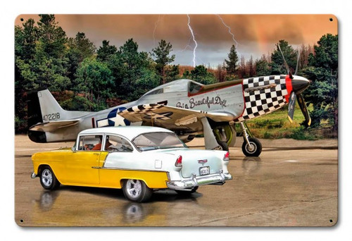 """""""Mustang  Plane and Chevy""""  Metal  Sign"""