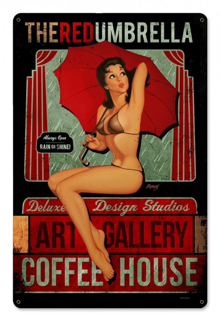 """""""Red Umbrella Coffee House""""  METAL  SIGN"""